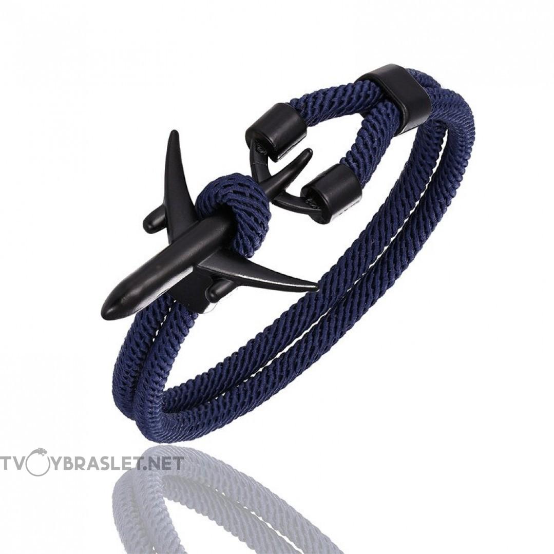 Браслет с якорем Самолет темно-синий Твой Браслет Dark Blue Black ANC013