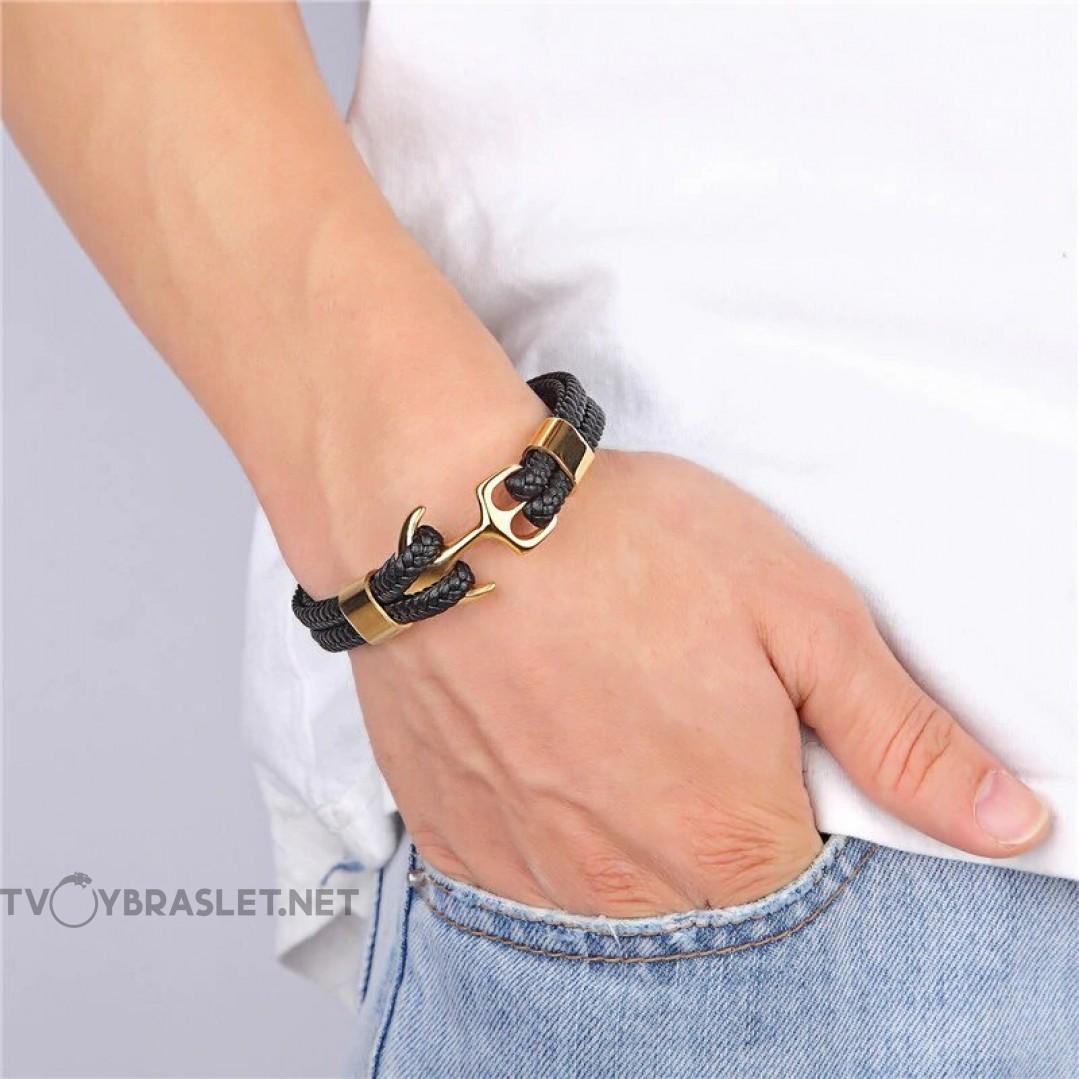 Браслет с якорем натуральная кожа сталь Твой Браслет Gold ANC015