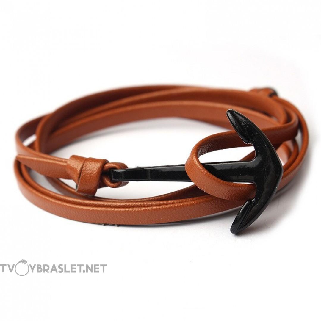 Браслет с якорем кожаный регулируемый коричневый Твой Браслет ANC019