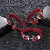 Браслет с якорем натуральная кожа сталь красный Твой Браслет ANC022