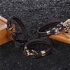 Браслет с якорем натуральная кожа сталь коричневый Твой Браслет ANC023