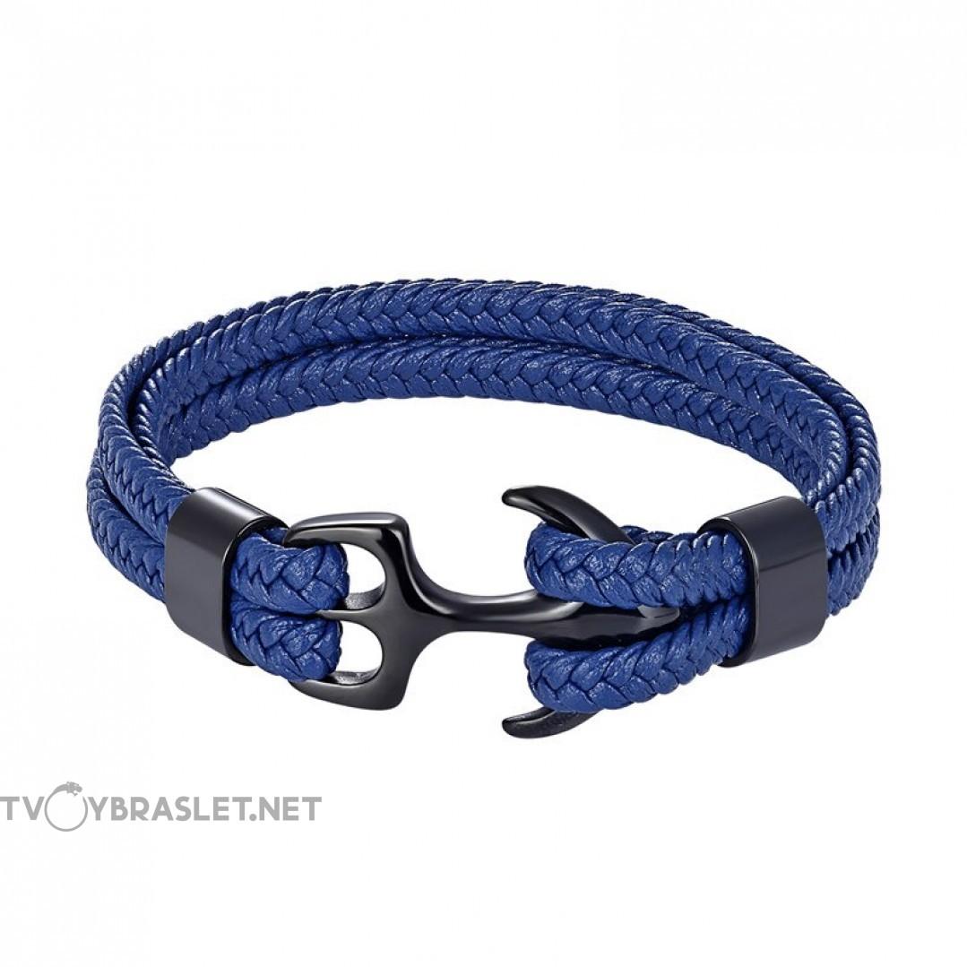 Браслет с якорем натуральная кожа сталь синий Твой Браслет ANC024