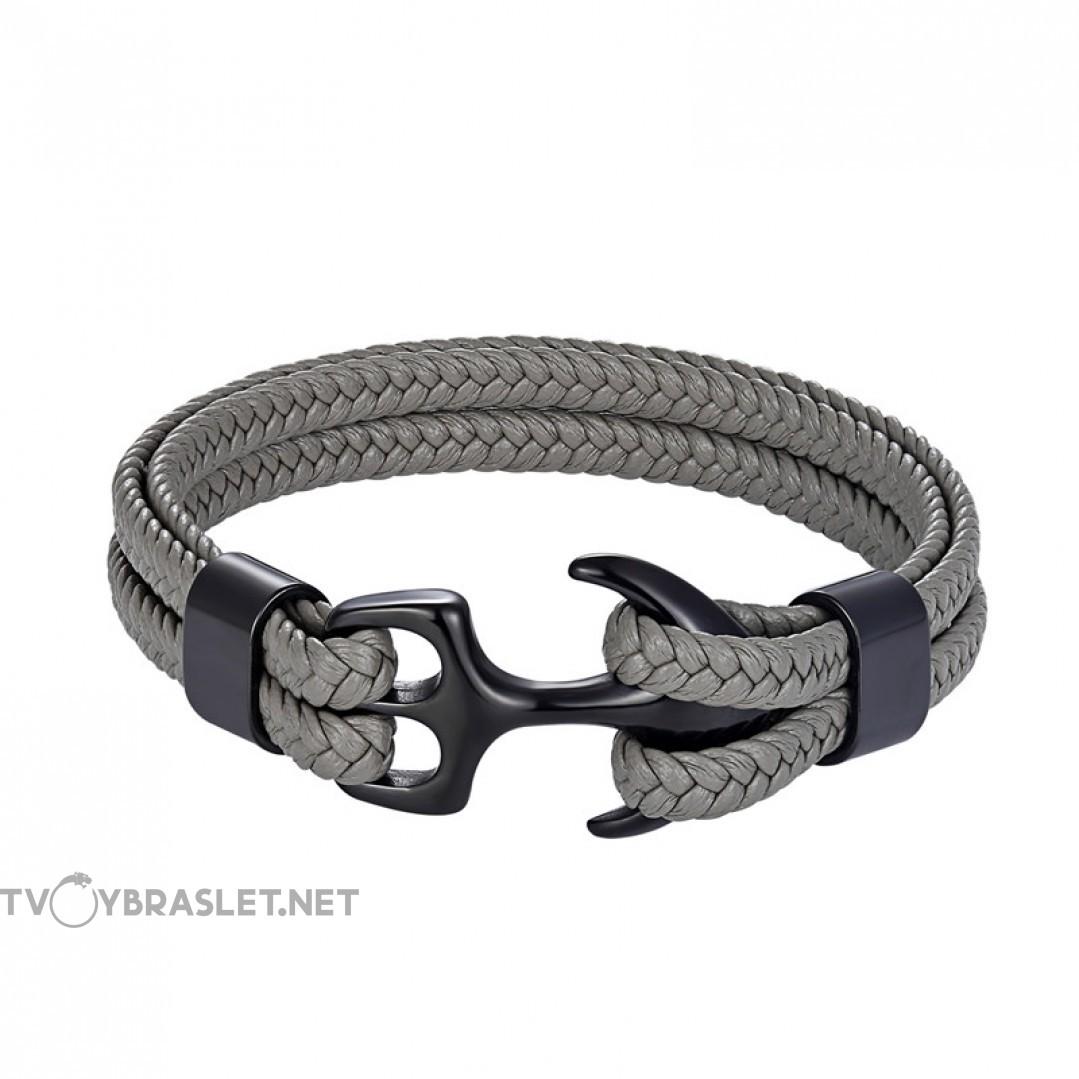 Браслет с якорем натуральная кожа сталь серый Твой Браслет ANC026