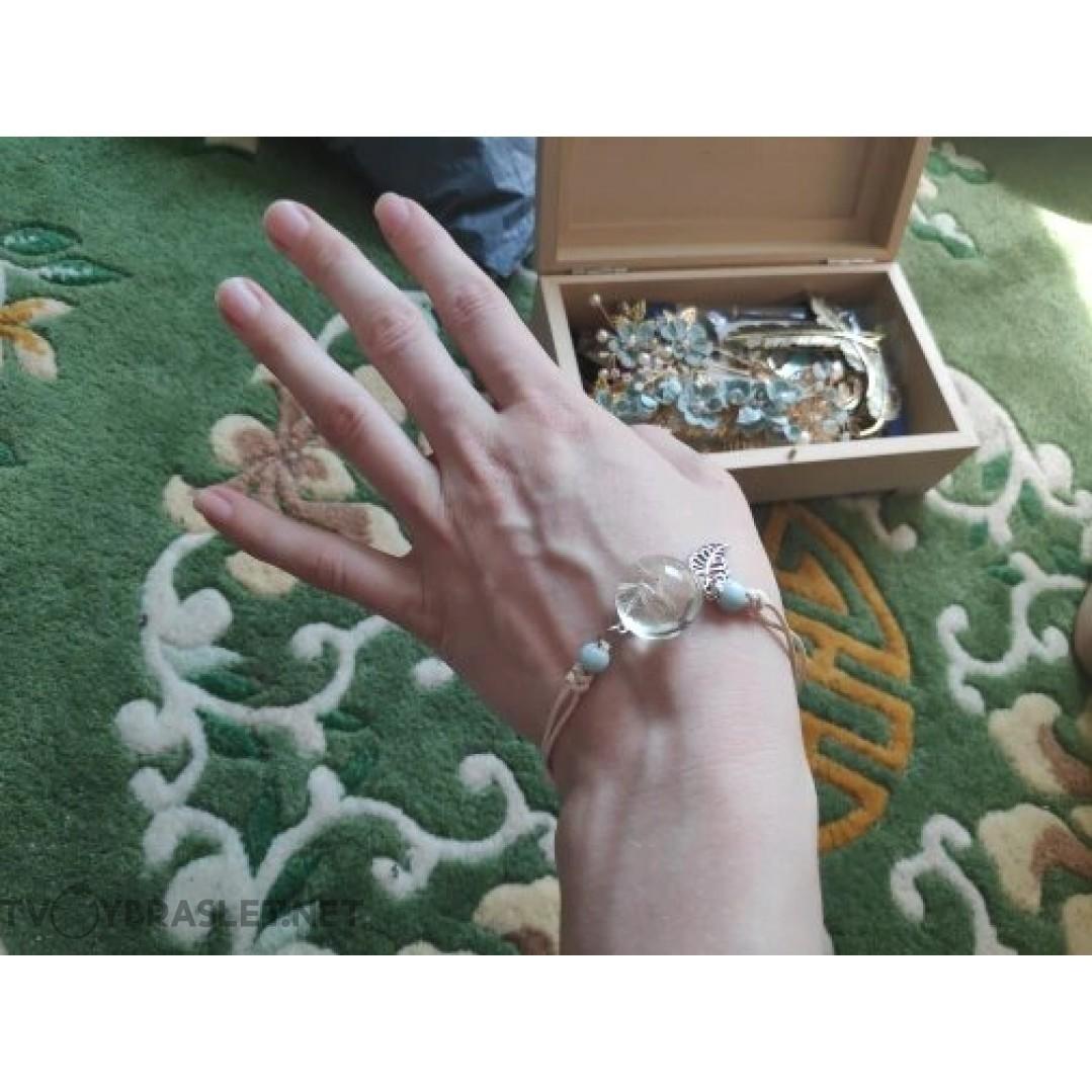 Браслет с одуванчиком полусфера керамика Твой Браслет CERA006