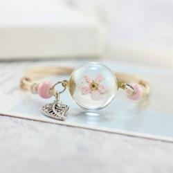 Браслет с цветком полусфера керамика Твой Браслет Pink Flower CERA007