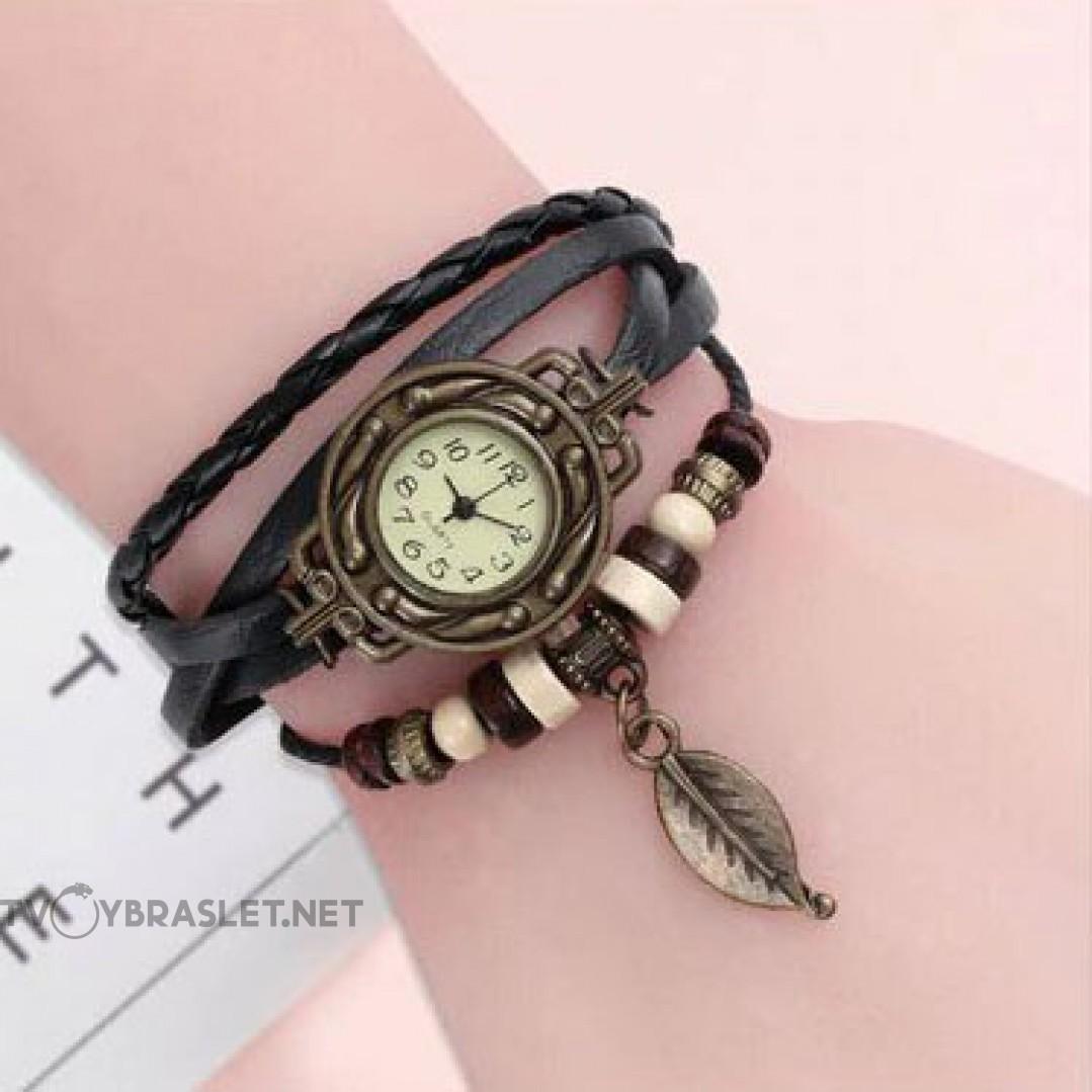 Браслет часы кварц кожа черный Твой браслет CLC105