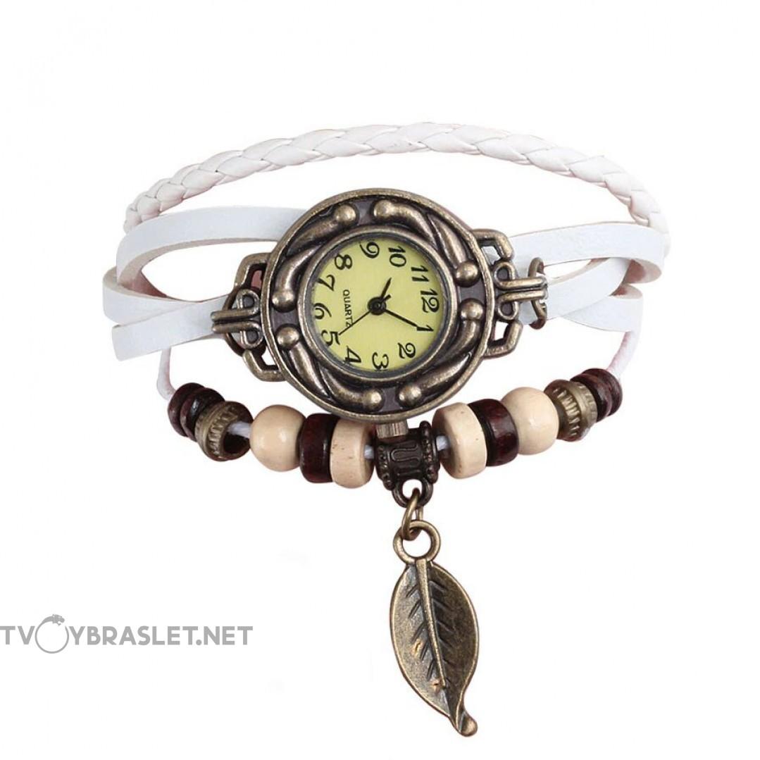 Браслет часы кварц кожа белый Твой браслет CLC106
