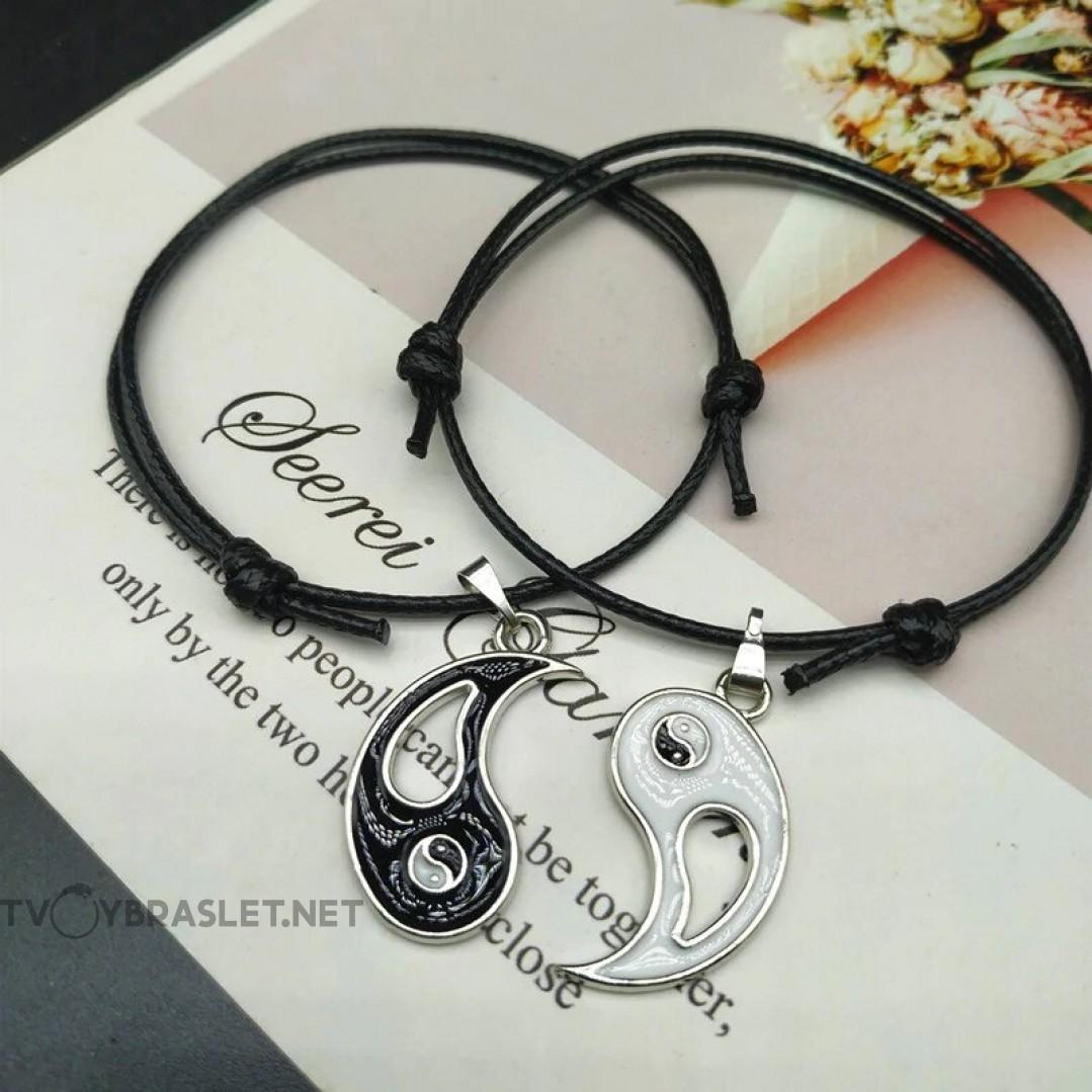 Комплект браслетов Инь-Янь черные 2 шт Твой Браслет DBL002