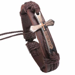 Браслет кожаный с крестом коричневый LTH001