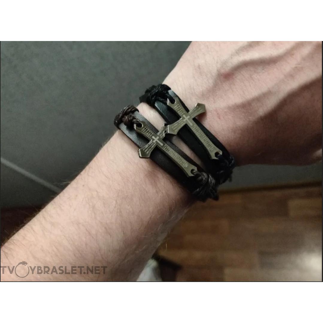 Браслет кожаный с крестом черный LTH002
