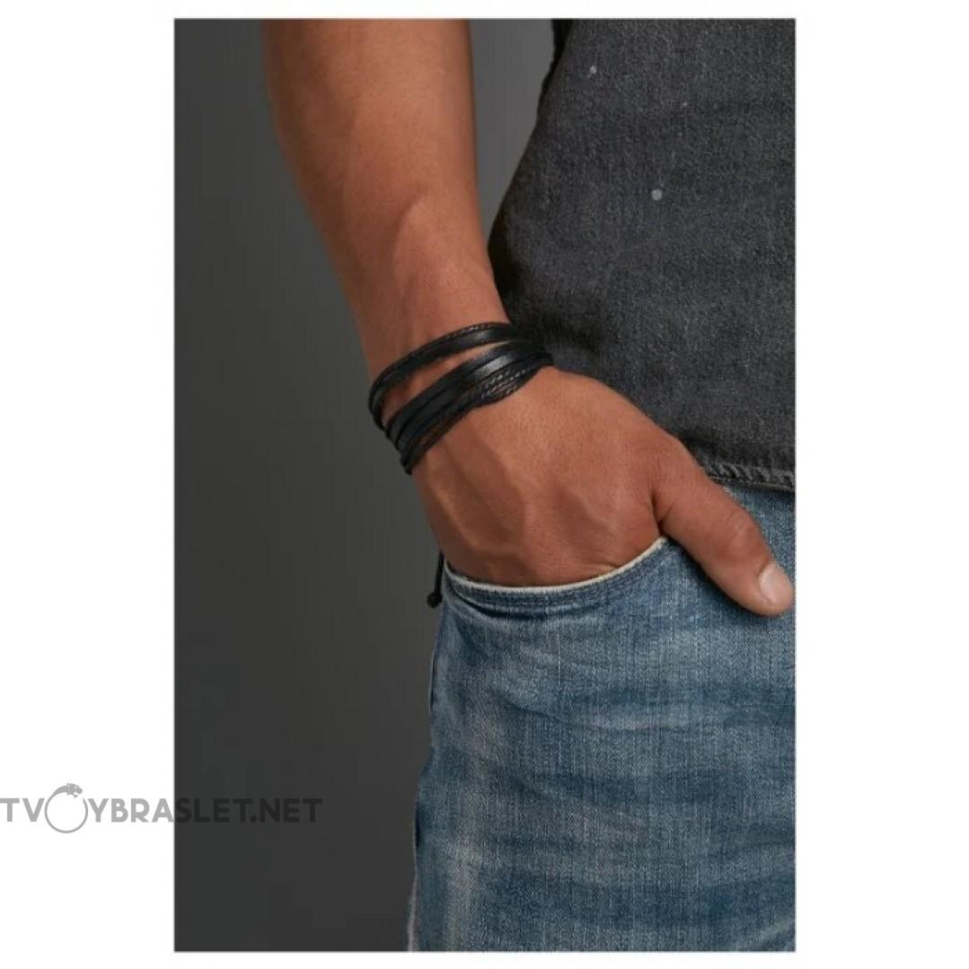 Браслет кожаный многослойный черный Твой браслет LTH004