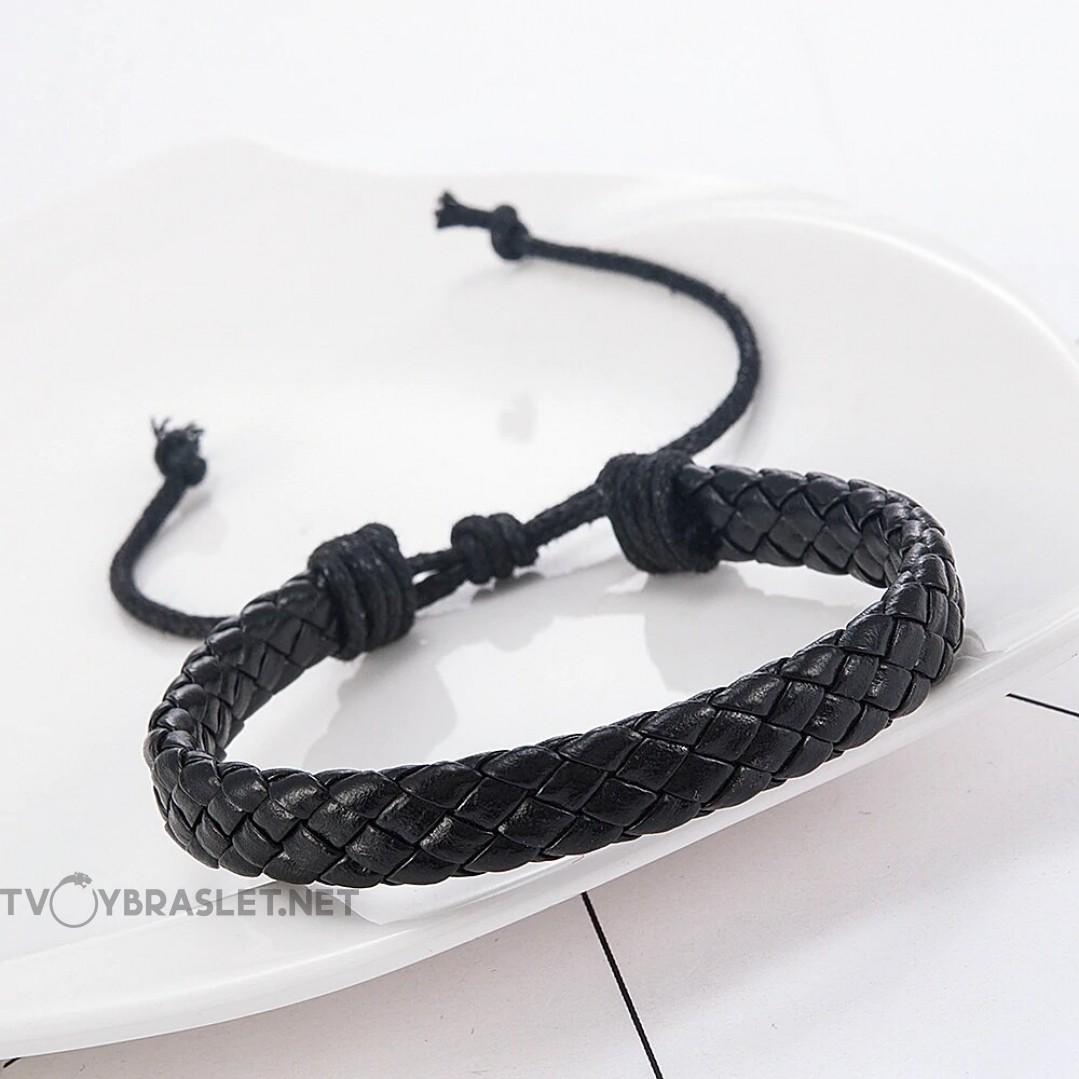 Браслет кожаный плетеный черный 10 мм LTH011