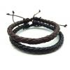 Браслет кожаный плетеный черный LTH012