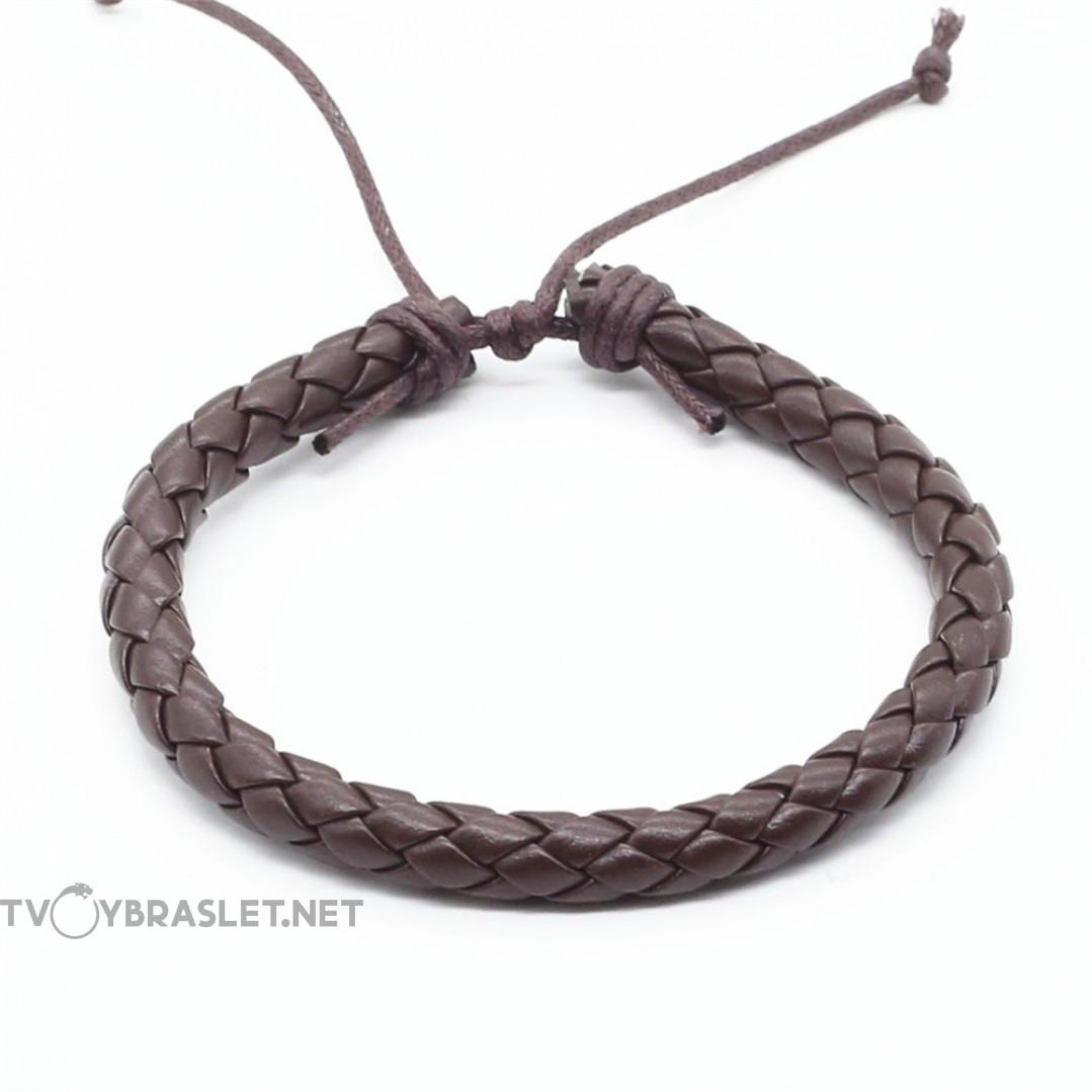Браслет кожаный плетеный коричневый LTH013