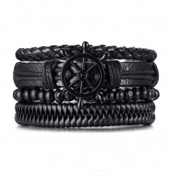 Комплект кожаных браслетов Штурвал черный 4 шт LTH015