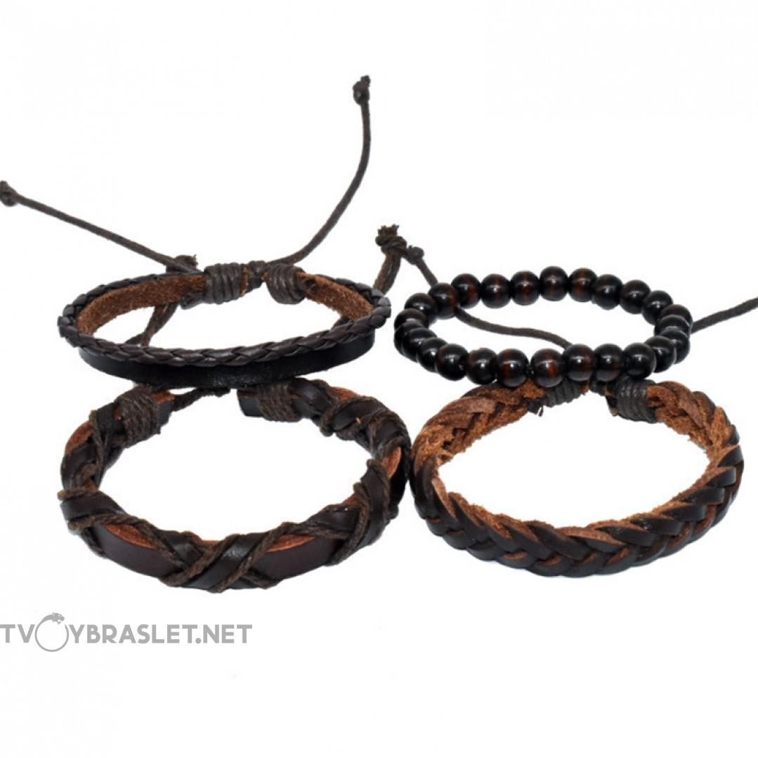 Комплект кожаных браслетов коричневый 4 шт LTH016