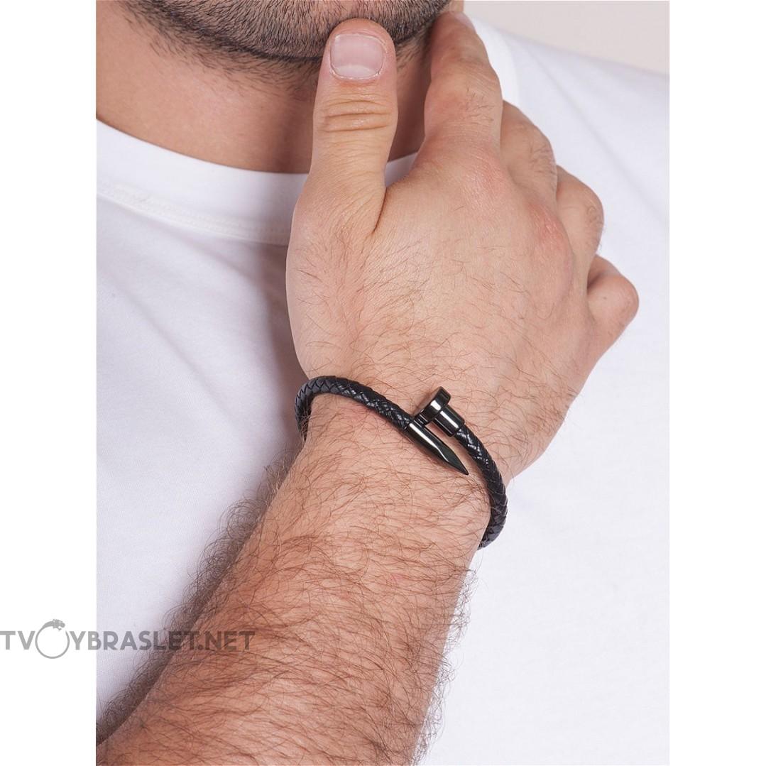 Браслет кожаный с магнитным замком Твой Браслет Гвоздь черный LTH017