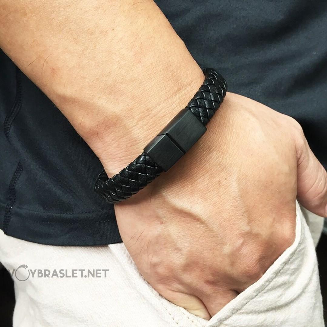 Браслет кожаный черный с магнитной черной застежкой Твой Браслет Black LTH019