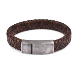 Браслет кожаный коричневый со стальной застежкой Твой Браслет Vintage Steel LTH020