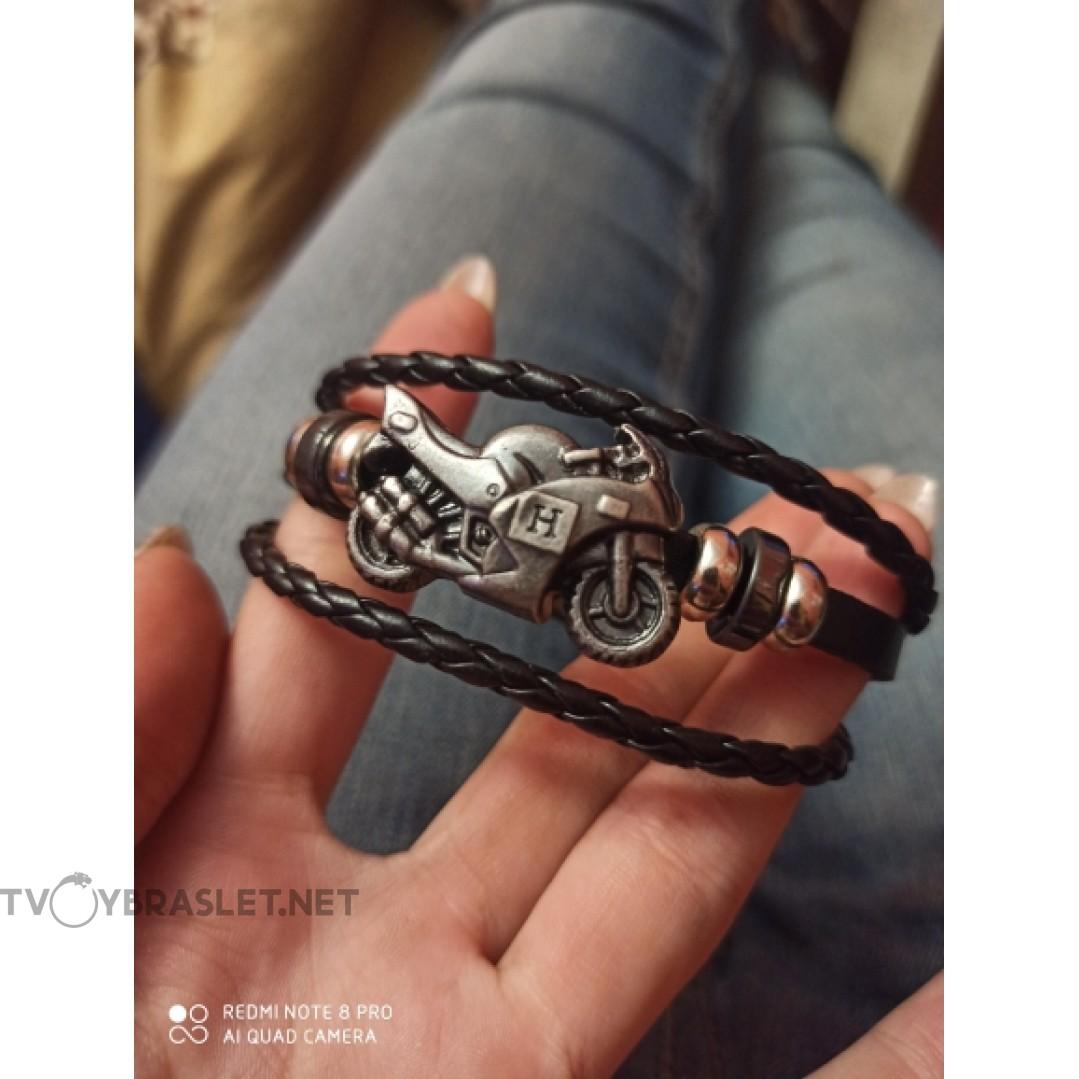 Браслет кожаный черный Твой Браслет Мото LTH023