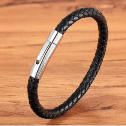 Браслет кожаный с магнитной застежкой черный Steel LTH027