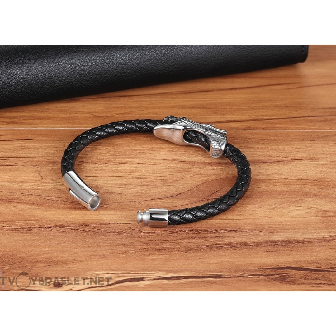 Браслет кожаный черный с магнитной застежкой Твой Браслет Дракон LTH029