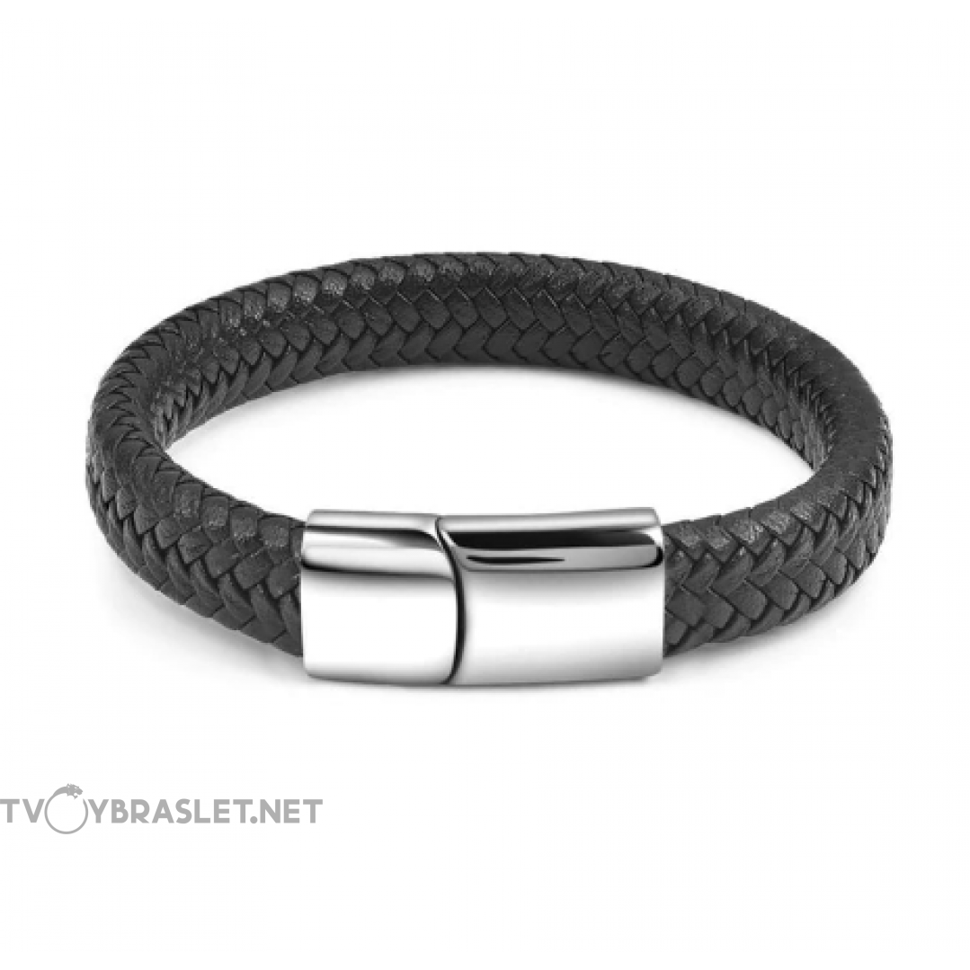 Браслет кожаный черный с магнитной застежкой Твой Браслет Steel LTH030
