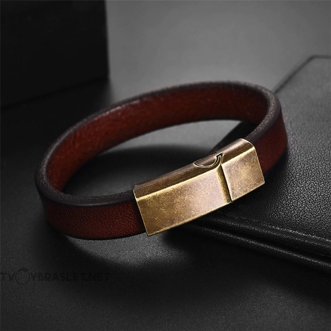 Браслет кожаный коричневый с магнитной стальной застежкой Vintage Твой Браслет LTH031