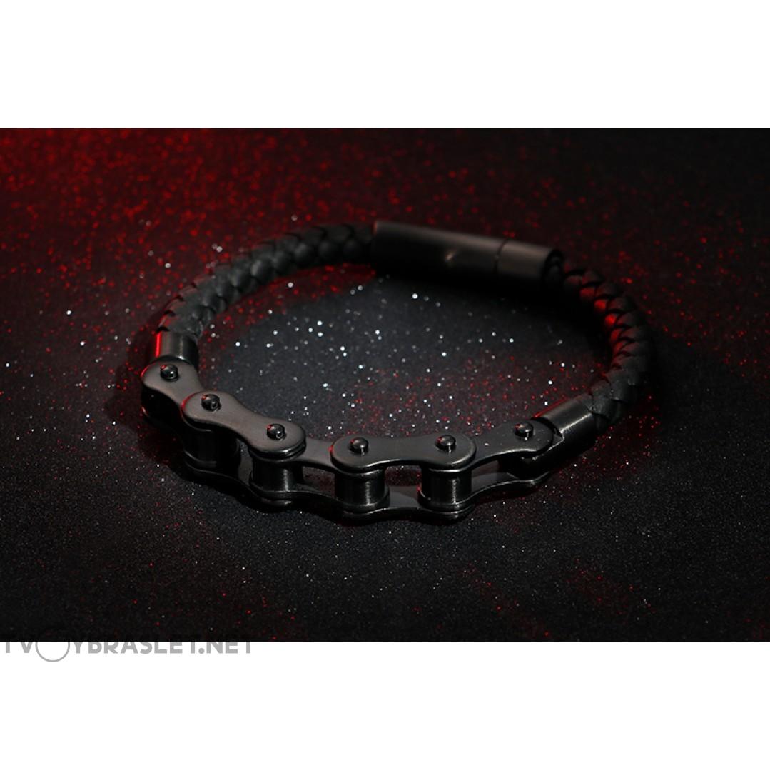 Браслет мужской из натуральной кожи и стали Твой браслет Приводная цепь Black LTH033