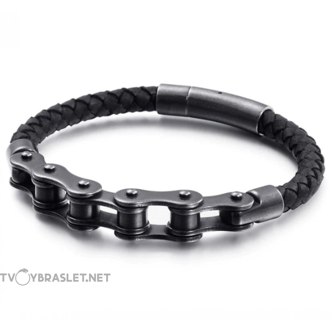 Браслет мужской из натуральной кожи и стали Твой браслет Приводная цепь Black Antique LTH034