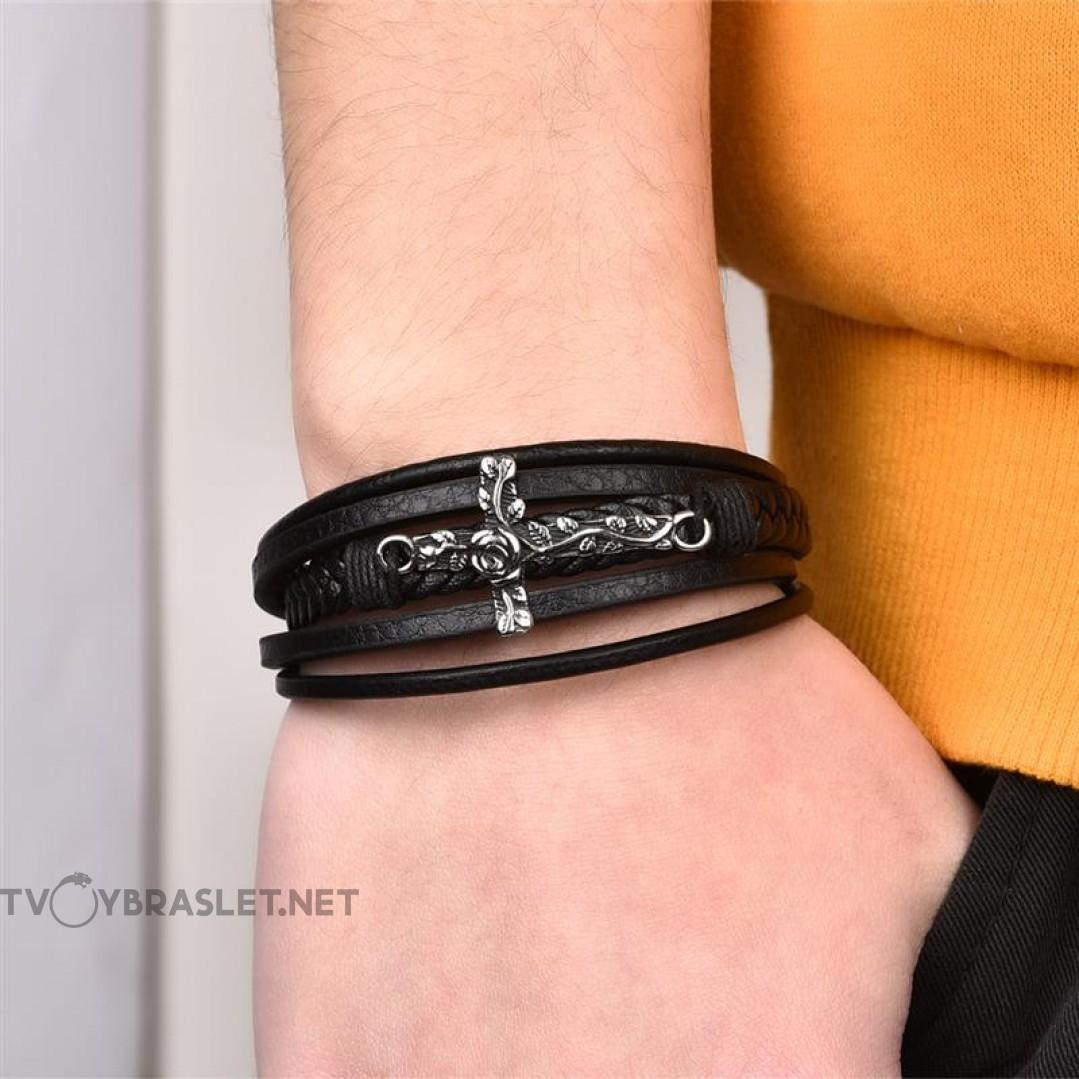 Браслет кожаный черный с магнитной застежкой Твой Браслет Роза На Кресте LTH037