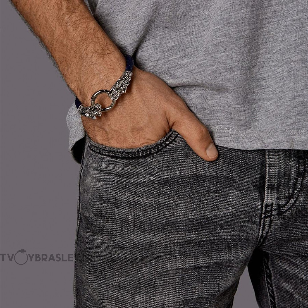 Браслет кожаный Кольцо Дракона 21 см Твой Браслет LTH039