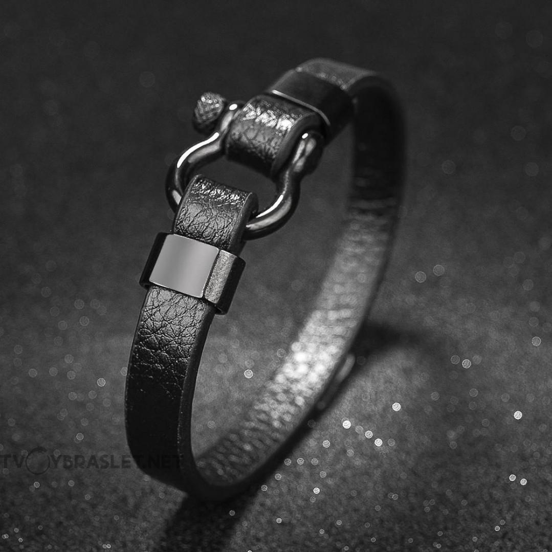 Браслет кожаный с винтовой застежкой черный Твой Браслет LTH043