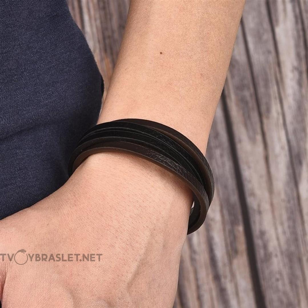 Браслет кожаный многослойный с магнитной застежкой Твой Браслет Black LTH044