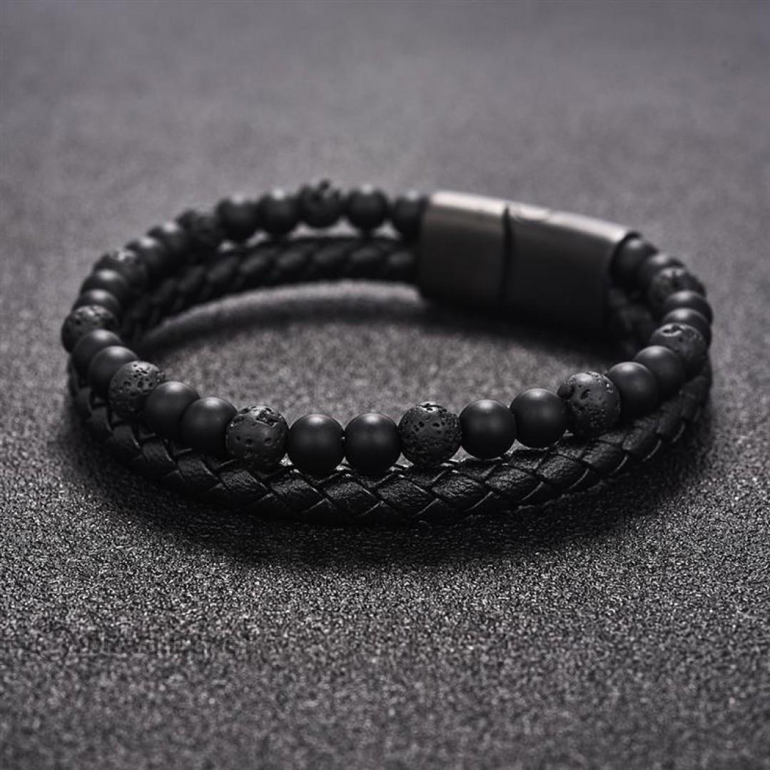 Браслет двухслойный кожа камень Агат Лава черный Твой Браслет LTH045