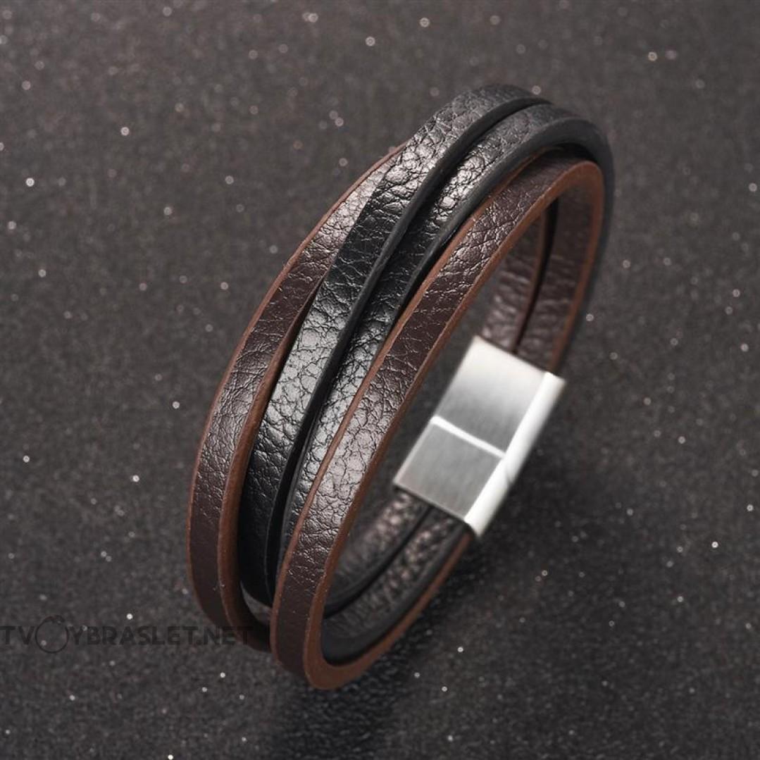 Браслет кожаный многослойный с магнитной застежкой Твой Браслет Steel LTH047