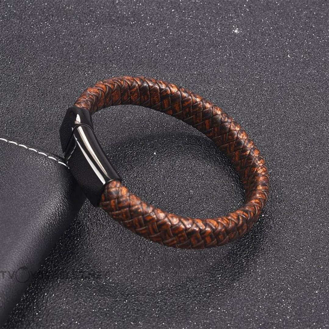 Браслет кожаный коричневый с магнитной черной застежкой Твой Браслет LTH048