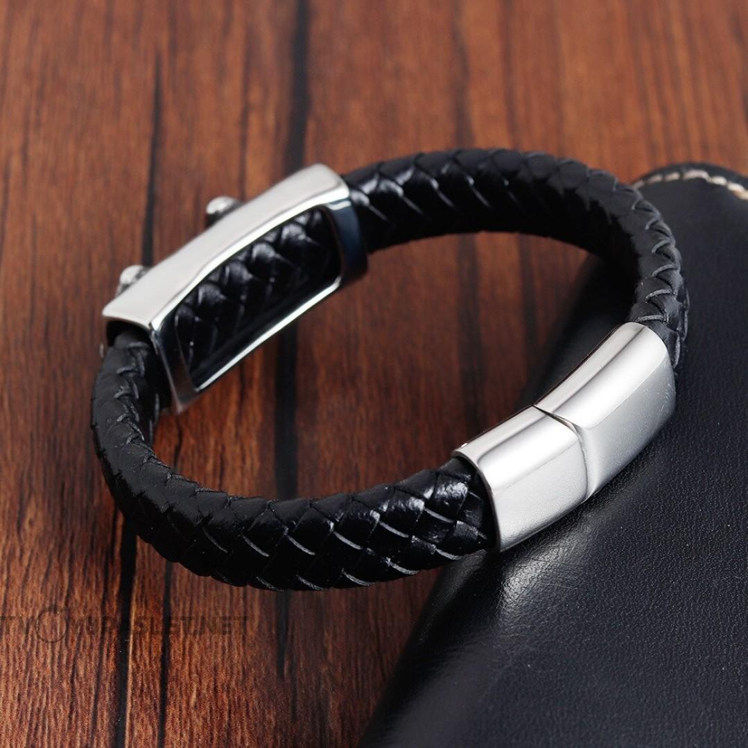 Браслет кожаный черный с магнитной застежкой Skull Твой Браслет LTH049
