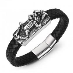 Браслет кожаный черный с магнитной застежкой Твой Браслет Skull Limited LTH049