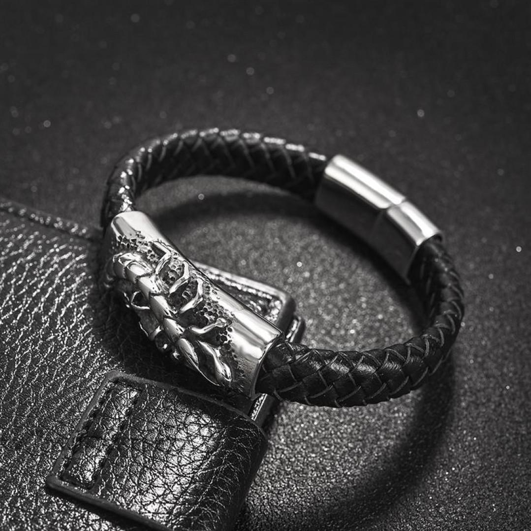 Браслет кожаный черный с магнитной застежкой Скорпион Твой Браслет Scorpio LTH050