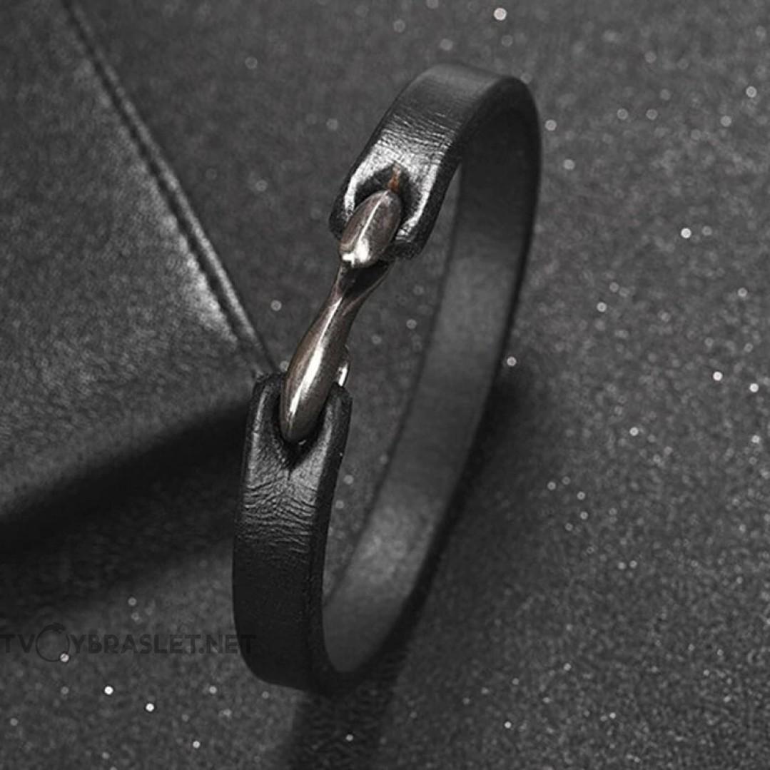 Браслет кожаный черный с застежкой крюком Твой Браслет LTH051