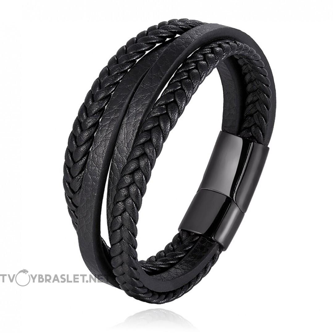 Браслет кожаный многослойный с магнитной застежкой Твой Браслет Black LTH052