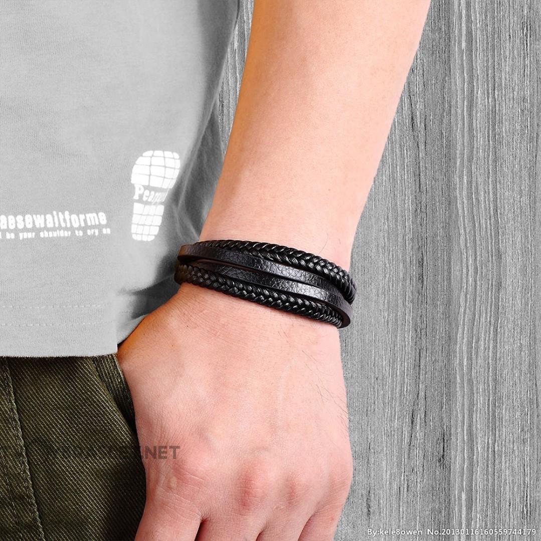 Браслет кожаный многослойный с магнитной застежкой Твой Браслет Silver LTH096