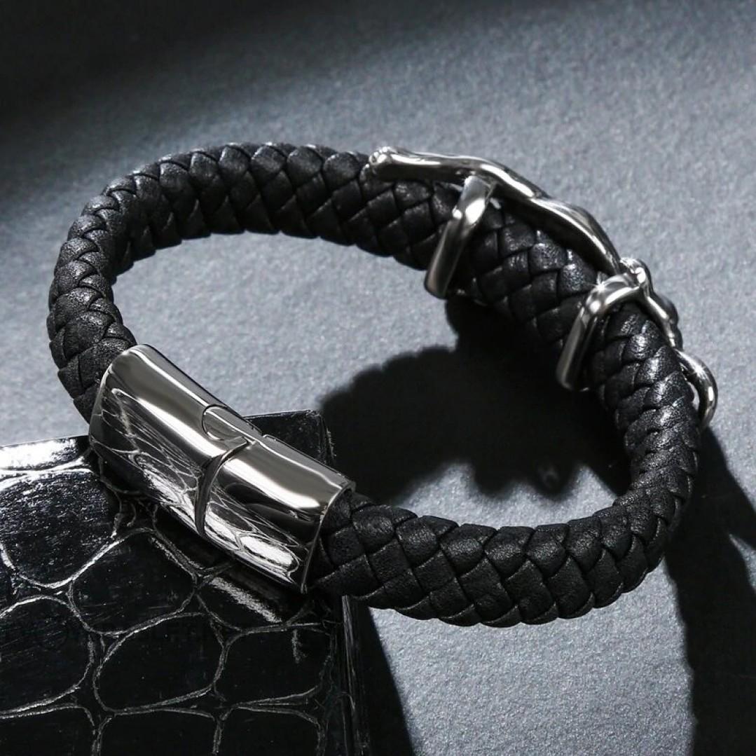 Браслет кожаный черный с магнитной застежкой Пантера Твой Браслет LTH053