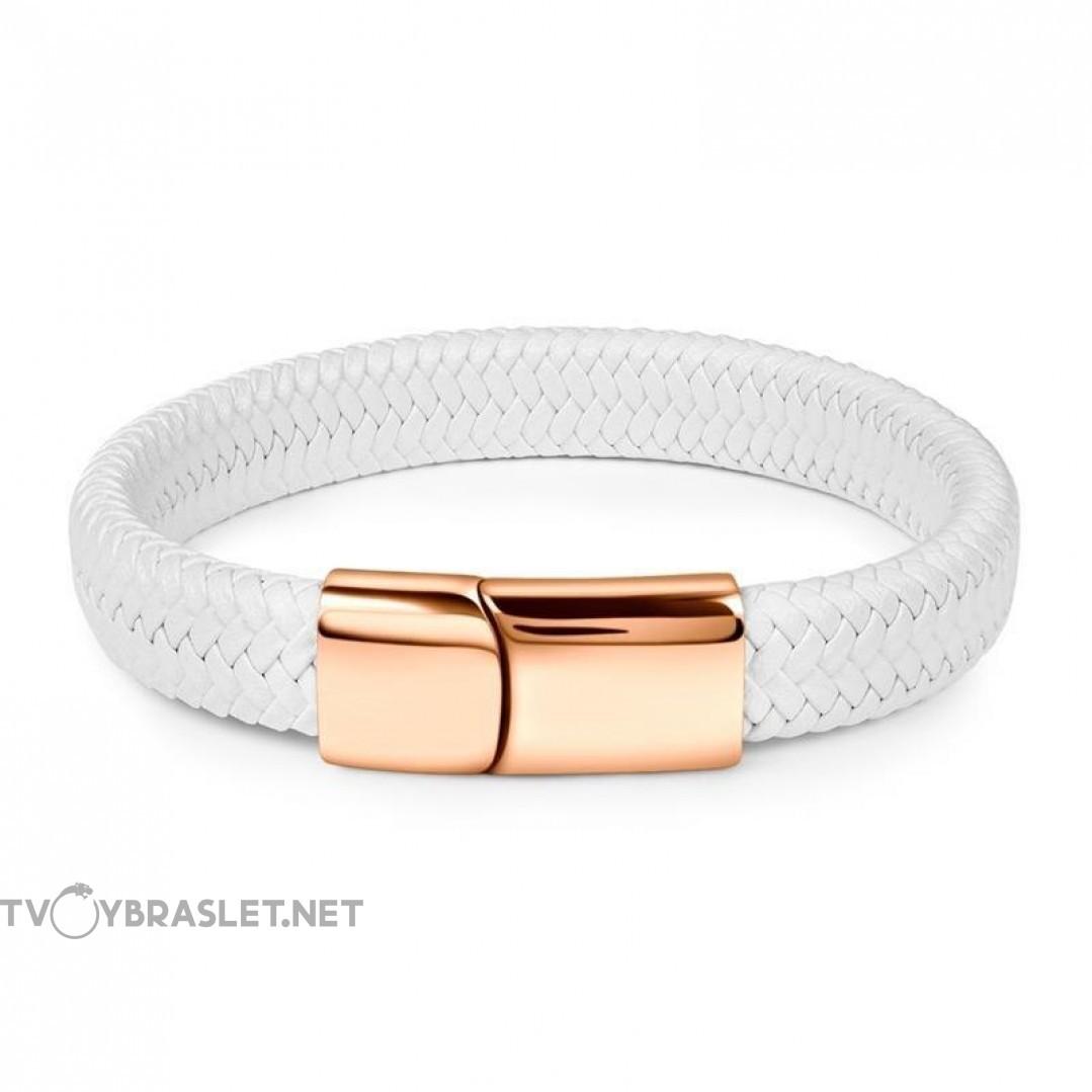 Браслет кожаный белый с магнитной застежкой Твой Браслет Gold LTH056