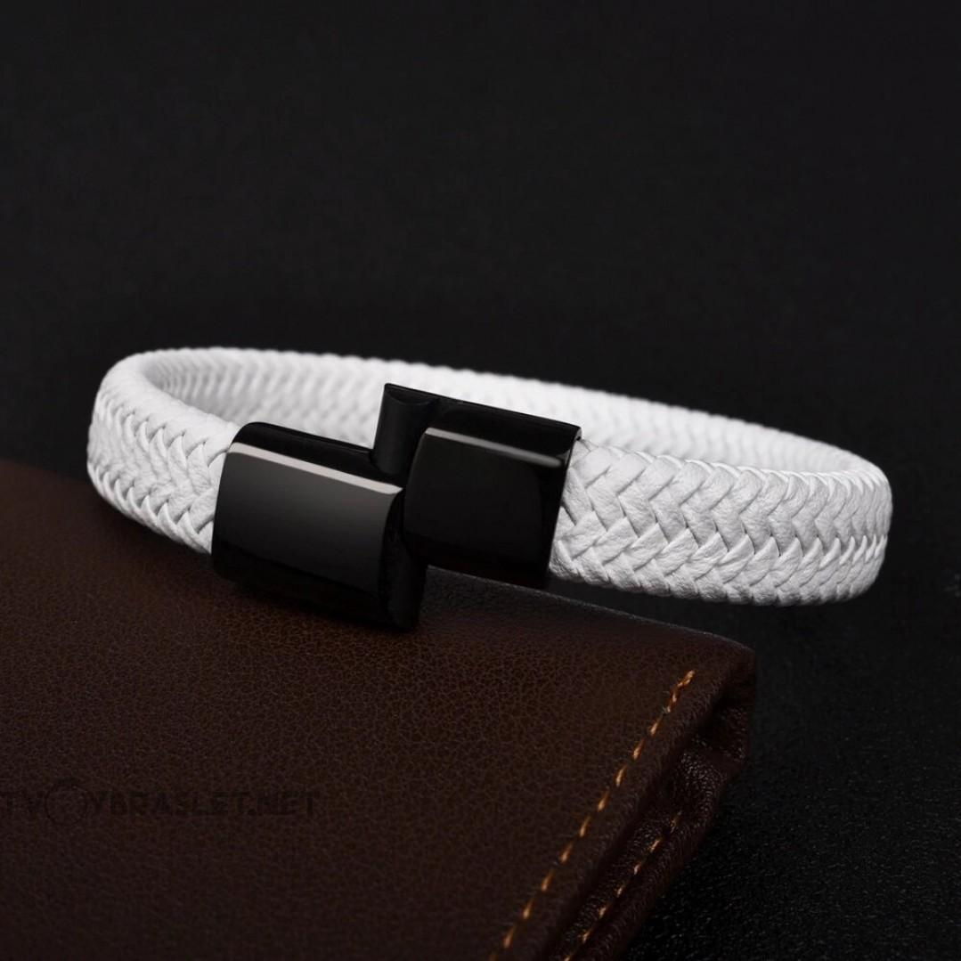 Браслет кожаный белый с магнитной застежкой Твой Браслет Black LTH058