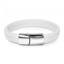 Браслет кожаный белый с магнитной застежкой Твой Браслет Silver LTH059