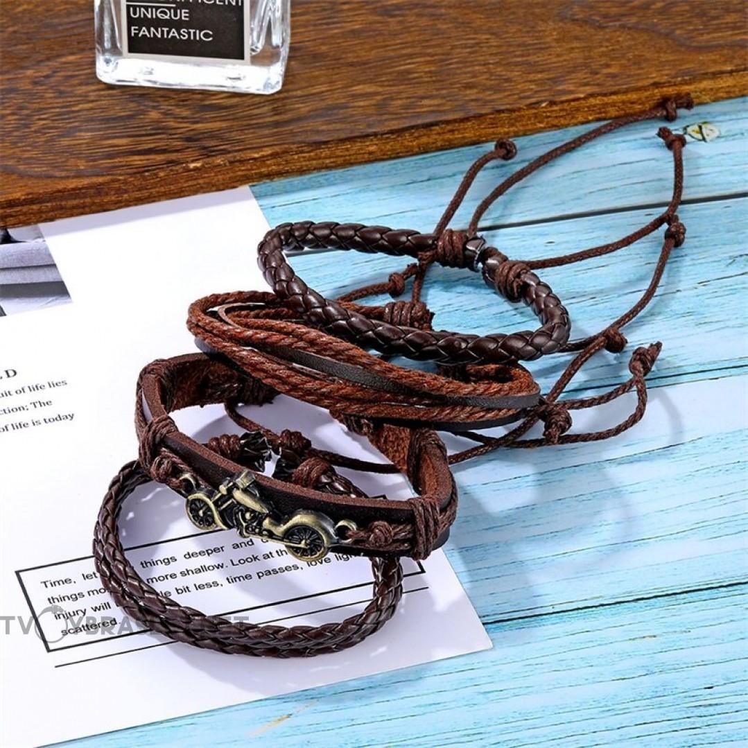 Комплект кожаных браслетов Мотоцикл коричневый 4 шт Твой Браслет LTH063
