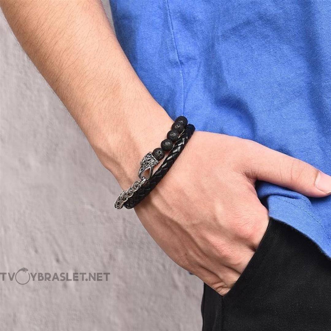 Браслет мужской комбинированный кожа камень сталь Орел Твой Браслет Eagle LTH065