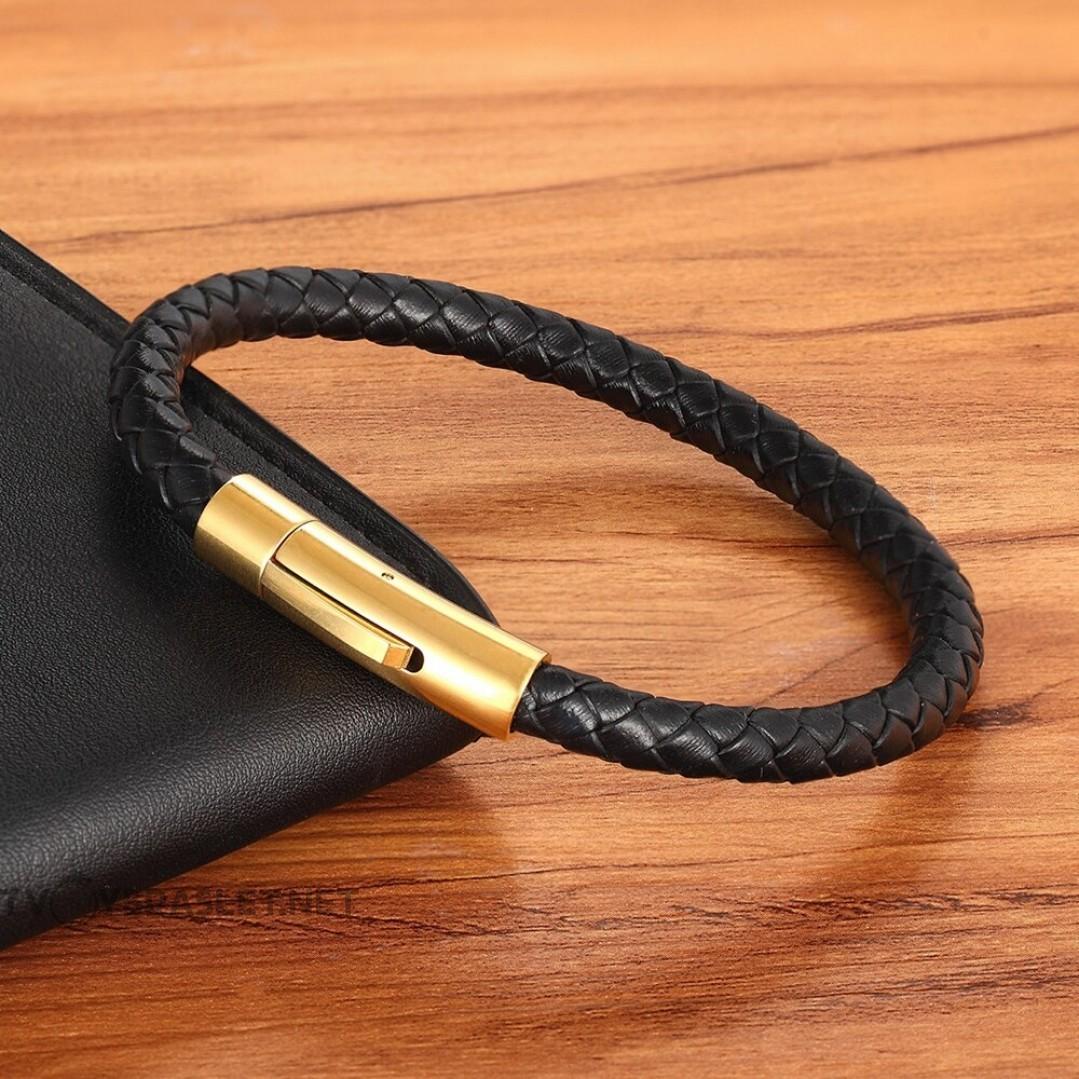 Браслет кожаный с магнитной застежкой черный Gold LTH066
